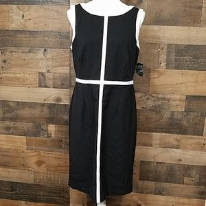 GNW black and white sleeveless midi dress 8